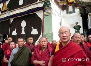 Monks at Wutunxia Monastery, Qinghai